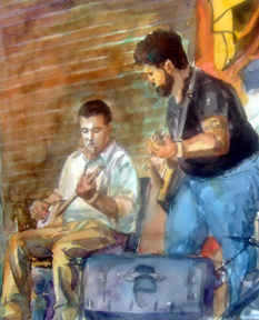 Bobby Hamilton and Shane Speal - watercolor by Yuri Ozaki