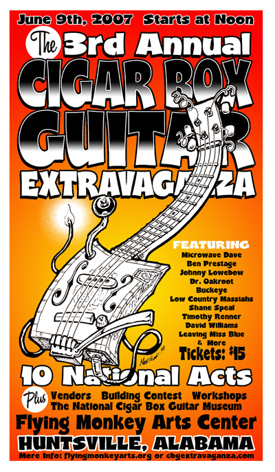 Cigar Box Guitar Extravaganza Poster by Matt Crunk